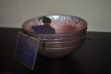 ARTISTIC ACCENTS SOUP/SERVING/SALAD BOWL SILVER/PINK HAND DECORATED GLASS SET/4