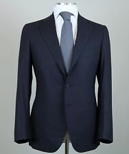 New Cesare Attolini Napoli Handmade Solid Blue Suit Size 38 (48 EU) NWT
