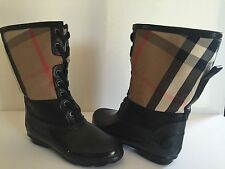 Burberry Danning Shearling Waterproof Check Snow Rain Boots Lace Up Sz 35 / 5 US