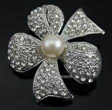 Silver Tone Charming Glass Rhinestone Crystal Beautiful Faux Pearl Brooch Pin