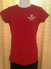 Womens BACARDI Rum BLACK RAZZ Logo RED Promo Bar T-Shirt TEE Size MEDIUM