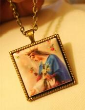 Roped Rim Porcelain Our Lady Queen of Heaven Square Brasstone Pendant Necklace