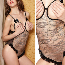 Sexy Lingerie Black & Silver Lace Crotchless Open Cups Bust Open Crotch Teddy OS