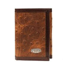 Nocona Western Mens Wallet Leather Trifold Vintage Brown Ostrich N5487802