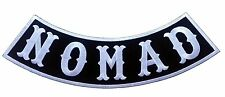 Nomad Biker Bottom /Side Rocker  White on Black  Outlaw Anarchy Biker Patch
