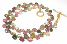 """FINE MULTI  TOURMALINE 15"""" CHOKER WITH 24KT GOLD VERMEIL TOGGLE CLASP & SPACERS"""