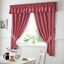 "RED GINGHAM EMBROIDERED PELMET TO MATCH KITCHEN CURTAINS  L136"" X W10"""