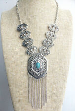 Silver Art Deco Turquoise tassel Hippy Bohemian Burning Man Gypsy Necklace