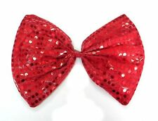 Red Clown Joker Jumbo Large Glitter Sparkly Sequin Costumes Fancy Dress Bow Tie