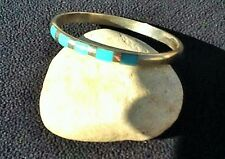 Bracelet Sterling Silver Vintage Southwest Turquoise 925 hinged Bangle 12.2g  7""