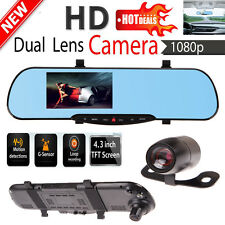 "4.3"" Dual Lens 1080p Video Recorder Dash Rearview Mirror Monitor Car Camera DVR"