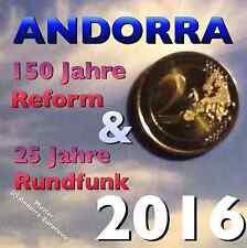 (AN2A) BEIDE 2x 2 EURO 2016 GEDENKMÜNZE ANDORRA ANDORRE RUNDFUNK + REFORM