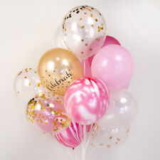 Pink & gold & white confetti balloon bouquet :-) wedding party set of 24