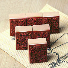 6pcs  Square  Wooden Vintage Flower Lace Pattern Rubber Stamp Scrapbook