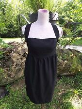 Laila Azhar Sz 6 Black Stretch Suspender Dress Wool Sheath Unique 90s Style