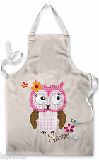 PERSONALISED NEUTRAL CUTE OWL CHILDRENS APRON BAKING PAINTING WATER ARTS & CRAFT