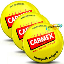 3x Carmex Classic Moisturising Lip Protection Balm Pot For Dry Chapped Lips 7.5g