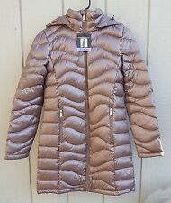 Andrew Marc Packable Long Hooded Premium Down Coat Jacket, Shine Taupe, Size XS