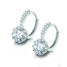 Unique 18k white gold filled white sapphire crystal charming hoop earrings
