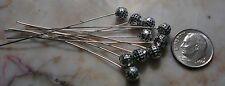 Head pins antique silver plated 5mm ball end 10 pcs 2 in dangle findings fhg021