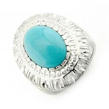 Carolyn Pollack Sterling Silver Diamond Cut Border Ring with Turquoise Size 9