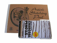 A4 ARTISTS PAPER SKETCH / SKETCHING / DRAWING PAD & 12 CHARCOAL PENCILS IN TIN