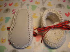 Ivory baby booties, Tartan ribbon. Hand crocheted.  0-3 m. Leather soles. New