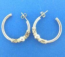 """Vintage Sterling Silver Bali Style Hoop Huggie Earrings 1.1"""""""