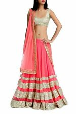 Bollywood Indian Ethnic Designer Wedding Semi Stitched Pink Lehenga Choli Set