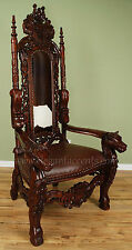 Carved Mahogany Horse Head Gothic Throne Chair - King Brown Finish with Cowhide