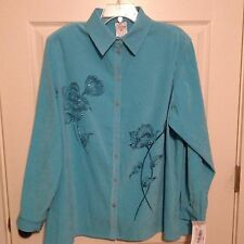 Nwt Allison Daley Plus Size 18 W Peacock Color Button Front Shirt Long Sleeve