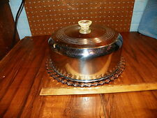 """Vintage Chrome Cake Cover w Glass Footed Plate (11"""" Dia.)"""