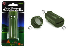 3in1 Waterproof Match Storage Survival Box GREEN Mirror & Flint Camping #CCH6-1G