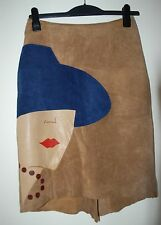Real leather suede knee length one-of-a-kind skirt size 10