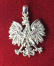"1.5"" Polish Eagle / Falcon Charm Pendant Solid Sterling Silver 925 Poland Flag"