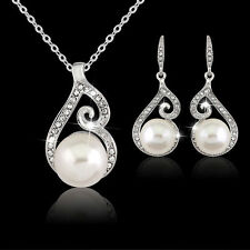 Elegant Womens Bridal Weddings Pearl and Jewelry Set Drop Necklace and Earrings