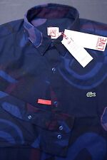 NWT Lacoste LIVE Men's Long Sleeve Skinny Fit Navy Cotton Casual Shirt M 40