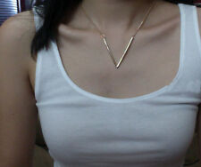 Fashion Sexy Charm Golden V English Letters Word Shape Pendant Choker Necklace