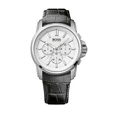 Hugo Boss 1513033 Men's Chronograph Black Leather Strap White Dial Quartz Watch