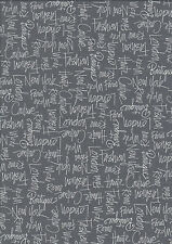 City Chic Grey City Names fat quarter 100% cotton quilting fabric- 50 x 55 cms