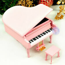 """Beauty and the Beast"" Melody Wooden Piano Music Box With Sankyo Movement (Pink)"