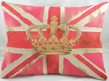 "18""x13"" Pink Union Jack & Crown Flag Belgian Tapestry Cushion Shabby Chic"