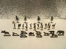 30 Vintage Metal Toys Soldiers Marching Band with Animals and Pine Trees RARE