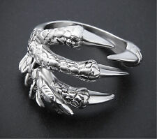 Men's Stainless Steel Silver Fashion Gothic Punk Charm dragon claw Finger Ring