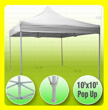 (PICKUP) 10x10 Straight Leg EZ Pop Up Canopy Gazebo Party Wedding Tent - WHITE