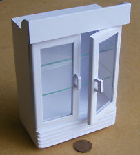 1:12 Scale White Painted Two Door Display Cooler Doll House Miniature Shop