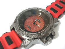 Iced Out Bling Bling Big Case Rubber Band Men's Watch Red Black Item 4035