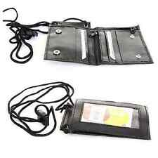 Men's Genuine Leather ID Necklace Wallet Badge ID Holder Neck Strap Wallet Black