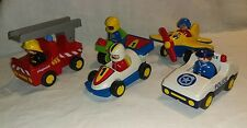 LOT 123 PLAYMOBIL AVION MOTO POLICE VOITURE ETC PERSONNAGES ( 1.2.3 - 1 2 3 )