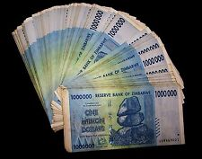 20 x Zimbabwe 1 Million Dollar banknotes-1/5 currency money bundle-rare